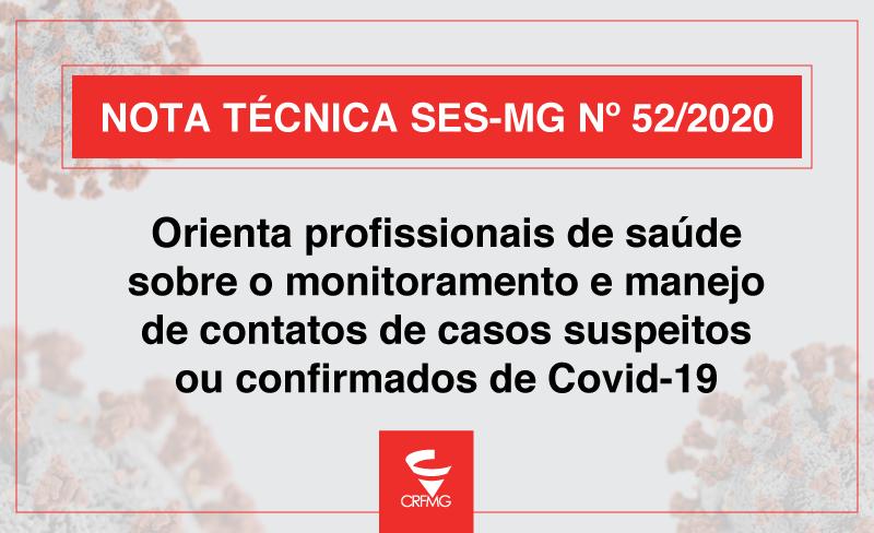 Nota técnica orienta profissionais de saúde sobre o monitoramento e manejo de contatos de casos suspeitos ou confirmados de Covid-19